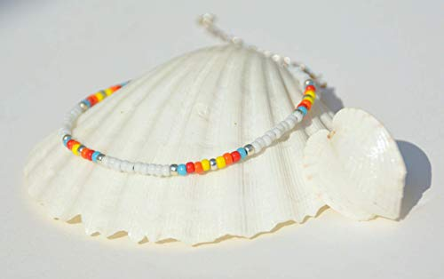 Anklet for Women or Girls, Unique Native American Style Thin Beaded Anklet Bracelet, Colorful Boho Hippie Beach Foot Jewelry, - Beaded Native Bracelets American