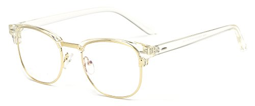 Outray Vintage TR90 Half Frame Horn Rimmed Prescription Optical Frames Glasses 2135TR-c4 - Glasses Half Clear Frame
