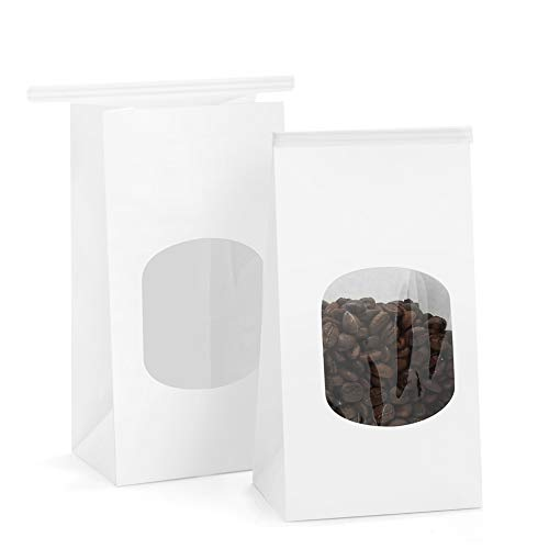 Tin Tab - BagDream Bakery Bags with Window Kraft Paper Bags 100pcs 3.54x2.36x6.7