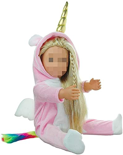 E-TING Doll Clothes Unicorn Costume Onesie Pajamas fits 18 Inch Girl Doll