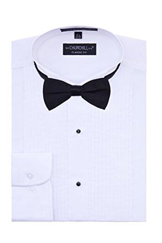 S.H. Churchill & Co. Men's Tuxedo Shirt Black Bow Tie - Wing Collar - Medium 34/35