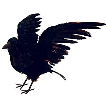artificial large life size black feather flying crow for halloween decorating