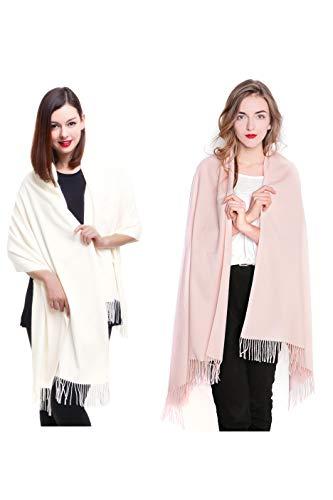 (REEMONDE Large Extra Soft Cashmere Blend Women Pashmina Shawl Wrap Stole Scarf (2 Pack - Cream & Light pink))