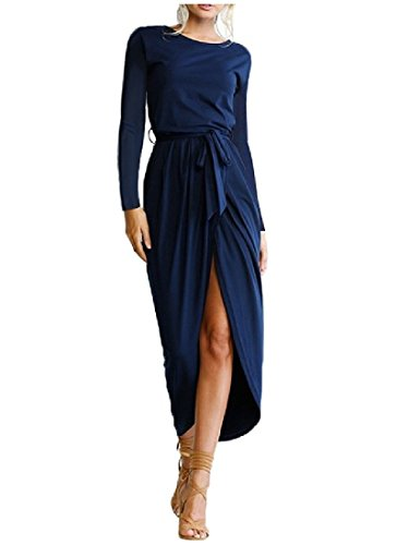 Women's Asymmetric High Split Prom Dress (Blue) - 5