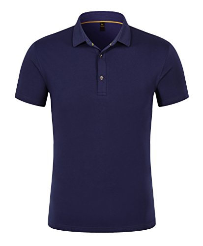 Snap Close Western Shirt (Mitario Femiego Men Classic Solid Collar Slim Fit Short Sleeves Golf Polo Shirt Navy Blue S)