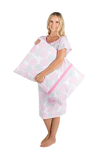 Gownies - Designer Hospital Gown Labor Kit (Large/X Large prepregnancy 10-18, Lilly Gownie with matching pillowcase)