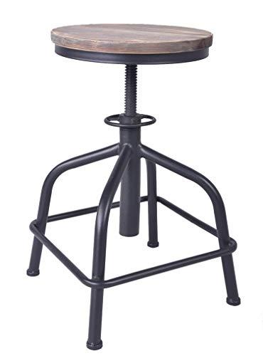 Topower American Antique Industrial Design Bar Stool Round Seat Adjustable Swivel Bar Stools in Exterior House Design (Black Wood)