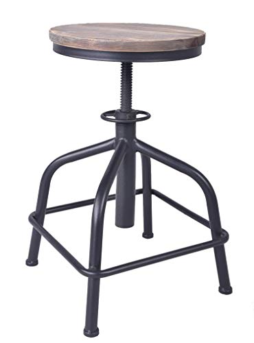 Topower American Antique Industrial Design Bar Stool Round Seat Adjustable Swivel Bar Stools in Exterior House Design Black, Wood