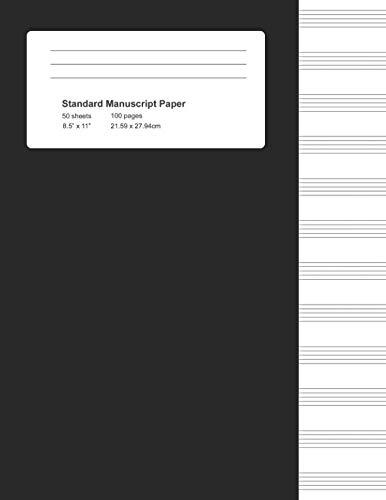 (Standard Manuscript Paper: Black Cover Blank Sheet Music Notebook (Notebook for Musicians))