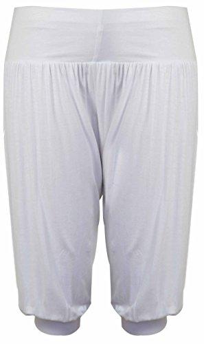 Pantalones anchos estilo árabe, largo pirata, cintura elástica, color liso De Color De Crema
