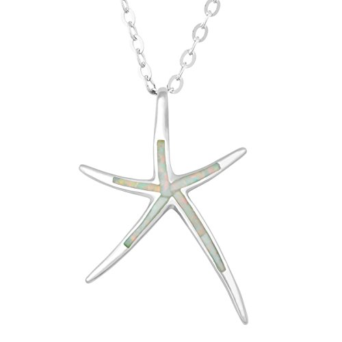 Beaux Bijoux Sterling Silver Created White Opal Starfish Pendant with 18