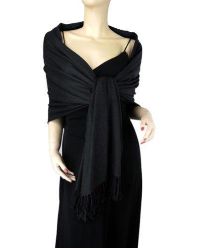 Pure Cashmere Pashmina Wrap 2 Ply Black