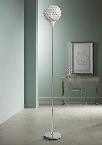Acrylic Lamp Floor Shade (Kryss Modern Torchiere Floor Lamp Chrome Metal Beaded Acrylic Shade for Living Room Bedroom Office Uplight)
