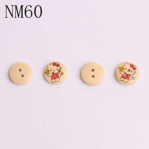 Maslin 100pcs Children Natural Wood Buttons Aniaml Cartoon Scrapbooking Decorations Sewing Accessories Baby for Coats Pullover Costura - (Color: ()