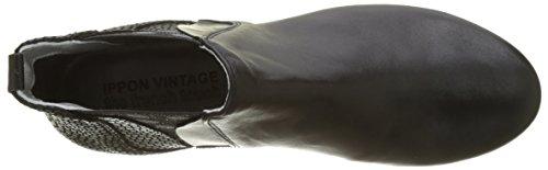 Ippon Vintage Damen Patch-Dots Chelsea Boots Noir (Noir)