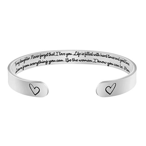 MEMGIFT Daughter Bracelets from Mom Wide Cuff Bangle Message Engraved for Her (Mother And Gifts For Daughter)