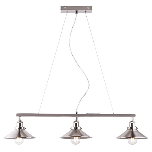 Light Island Kitchen Nickel (Andante 3 Light Kitchen Island Light Fixture, Brushed Nickel, Linea di Liara LL-P347-BN)