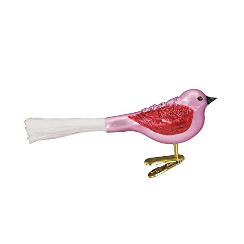 Old World Christmas Glass Blown Clip-On Ornament with Gift Box, Assorted Birds Collection (Fat Glitter Bird [Pink])