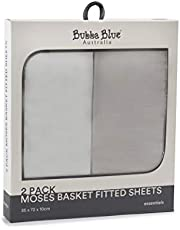 Bubba Blue Everyday Essentials Moses Basket Fitted Sheet 2 Piece Set, White/Grey, 2 piece
