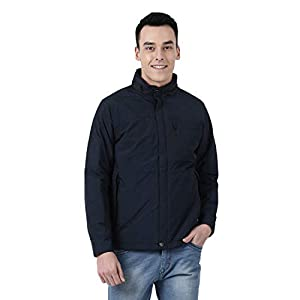 Monte Carlo Blue Solid Cotton Blend Polo Collar Jacket