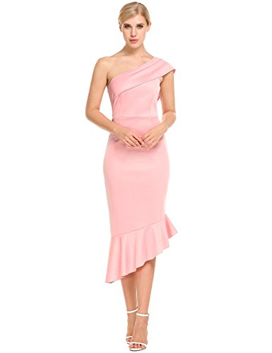 ANGVNS Mermaid Pleated Bodycon Cocktail