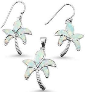 Sterling Silver Blue or White Opal Palm Tree Earrings