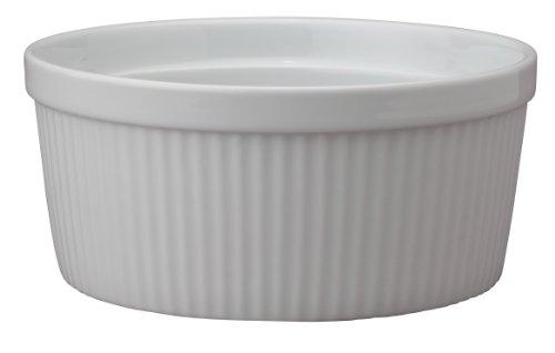 1/2 Qt Round Casserole - HIC Souffle, Fine White Porcelain, 7.5-Inch, 48-Ounce, 1.5-Quarts Capacity