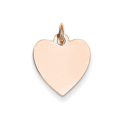 14k Rose Gold Engravable Heart Disc Charm or Pendant, 13mm