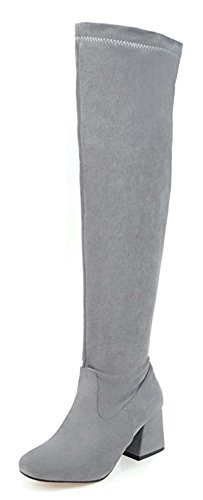 Aisun Womens Sexy Dressy Round Toe Slim Inside Zip Up Mid Block Heel Knee High Boots With Zipper Gray