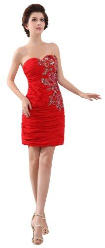 herafa p31350-12 Prom Dresses Gorgeous Sweetheart Sleeveless Rows of Lace Delicate Beading mini Sheath Red
