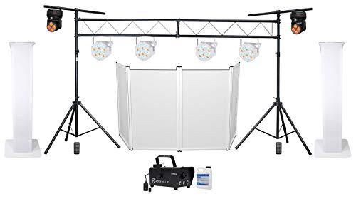 (2) DJ Totem Stands+Facade+Par Lights+Moving Heads+LED Fogger+Truss Bar System