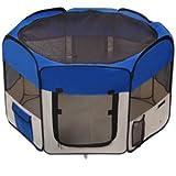 "48""x48""x36"" 2-Door Large Dog Playpen Blue Pet Puppy Tent Crate Exercise Kennel"