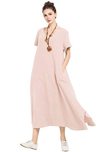 Anysize Linen Cotton Soft Loose Spring Summer Dress Plus Size Clothing F126A, Skin Pink, 2X (Linen Summer Dress)