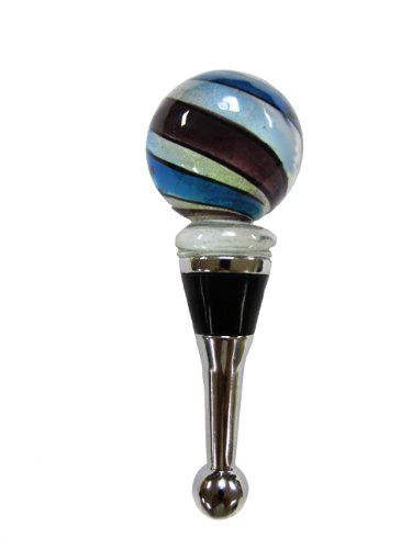 (Ball Shape Glass Wine Bottle Stopper with Swirl Multi-color Center #85)