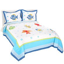 Pem America Colorful Sea Full / Queen Quilt with 2 Shams