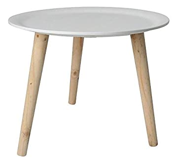 Retro Beistelltisch Rund 38 Cm Weiss Holz Tisch Couchtisch