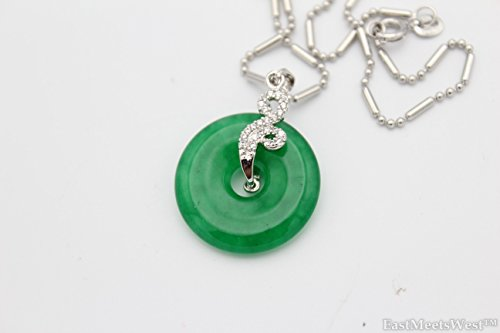 LuckyGifts High Grade Nature Green Jade Prosperity Coin Ping an Kou Pendant White Gold Plated Crystal Necklace Feng Shui Protection