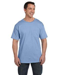 Men's 6.1 oz Hanes BEEFY-T T-Shirt w/Pocket, Light Blue, L US (Chest 42-44)