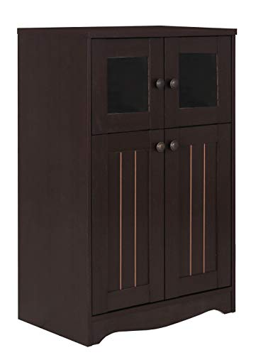 (GreenForesrt Storage Cabinet, 3-Tier Compartment Free Standing Cabinet with Door, Walnut)