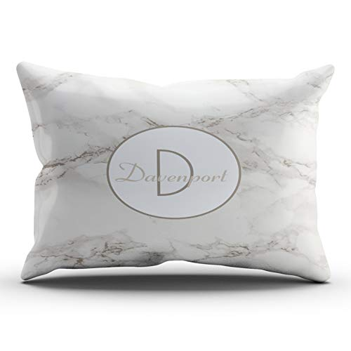 ONGING Decorative Pillowcases Faux Marble Alabaster Taupe Personalized Modern Customizable Cushion Rectangle Lumbar Size 12x24 Inch Throw Pillow Cover Case Hidden Zipper One Sided Design - Rocks 12 Light Alabaster