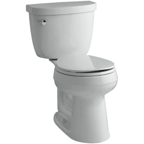 durable modeling KOHLER K-3888-95 Cimarron Comfort Height Two-Piece Round-Front 1.6 GPF Toilet with AquaPiston Flush Technology and Left-Hand Trip Lever, Ice Grey