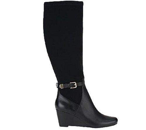 Isaac Mizrahi Womens Krystal Wedge Boots Wide Calf Brown 6.5 Medium jJtVyBv0S