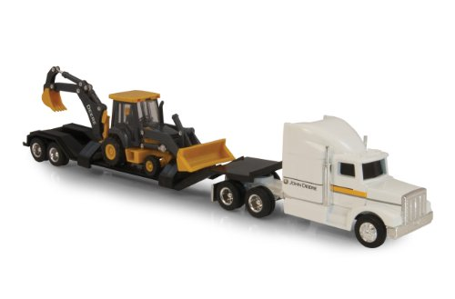 Ertl John Deere Semi with Backhoe Diecast Loader, (Ertl Toy Trucks)