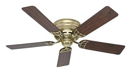 hunter brass ceiling fans. Simple Fans Hunter 53070 52Inch Low Profile III Bright Brass Flush Mount Ceiling Fan Throughout Fans