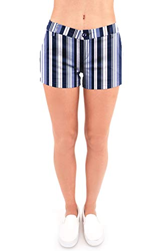 (Bebop Women's Casual Shorts, Stretch Cotton Twill (11, Navy Baby Blue) )