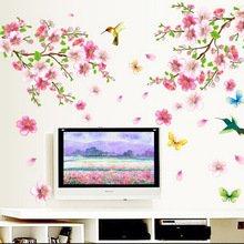Peach Blossom Flower Bird Removable Wall Sticker TV Sofa Wall Decor (Vans Superhero Shoes)