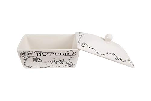 Creative Co-Op Country Style Butter Dish White and Black by Creative Co-op (Image #3)