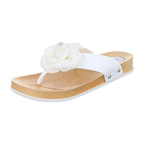 Ital-Design Zehentrenner Gummi Damenschuhe Peep-Toe Zehentrenner Sandalen/Sandaletten Weiß