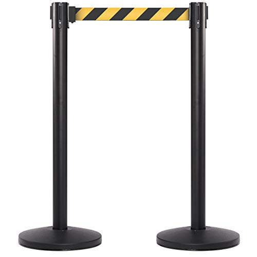 CCW Series RBB-100 Black Stanchion Retractable Belt Barrier with 10 Ft. Black and Yellow Diagonal Safety Belt - Easy to Assemble, No Tools Required (Set of 2) ()