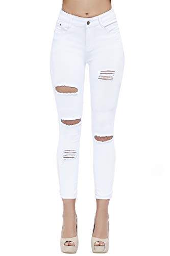 Women's Hight Waisted Butt Lift Stretch Ripped Skinny Jeans Distressed Denim Pants (US 16, White 15)